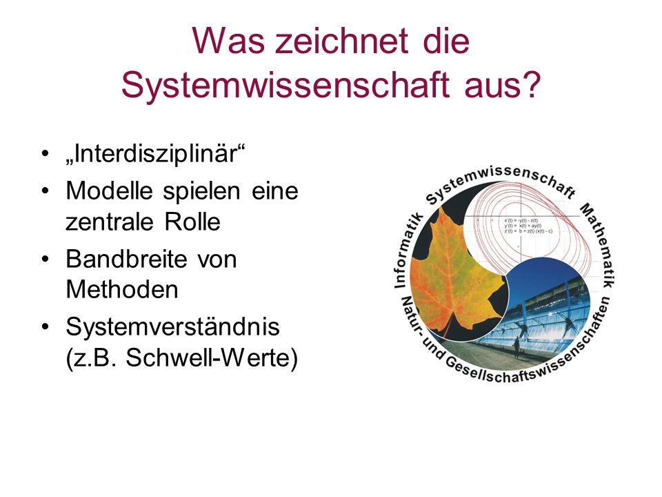 Was zeichnet die Systemwissenschaft aus? Interdisziplinär Modelle spielen eine zentrale Rolle Bandbreite von Methoden Systemverständnis (z.B. Schwell-