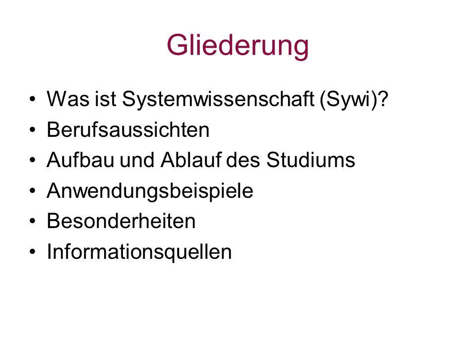 Gliederung Was ist Systemwissenschaft (Sywi)? Berufsaussichten Aufbau und Ablauf des Studiums Anwendungsbeispiele Besonderheiten Informationsquellen