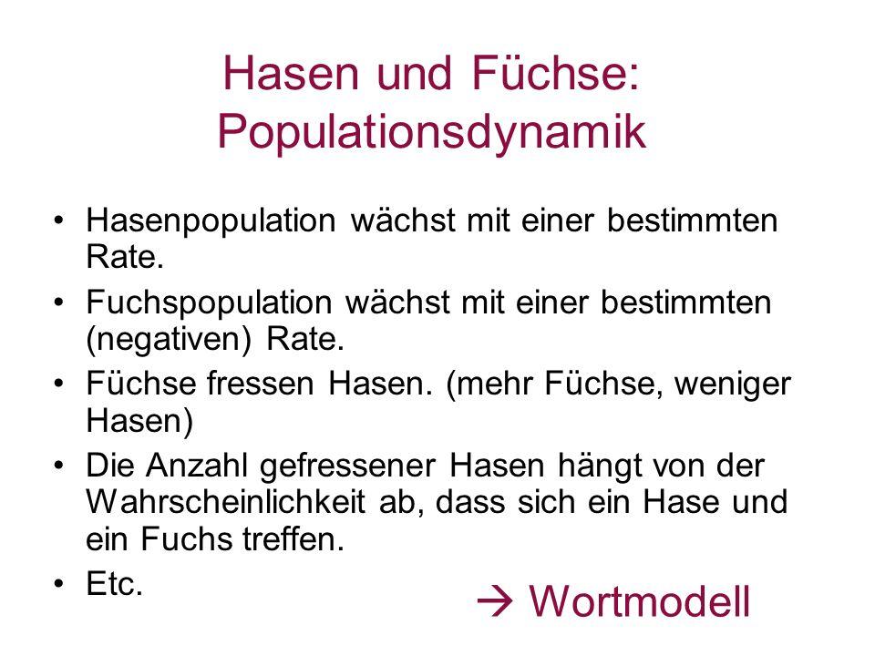 Hasen und Füchse: Populationsdynamik Hasenpopulation wächst mit einer bestimmten Rate. Fuchspopulation wächst mit einer bestimmten (negativen) Rate. F