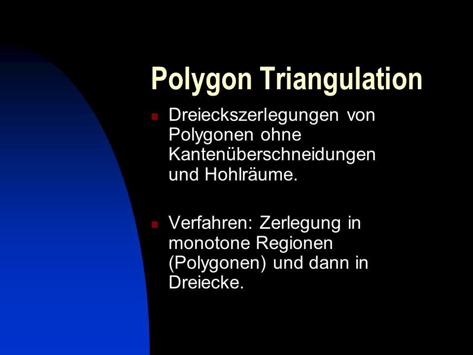 Polygon Triangulation Dreieckszerlegungen von Polygonen ohne Kantenüberschneidungen und Hohlräume. Verfahren: Zerlegung in monotone Regionen (Polygone