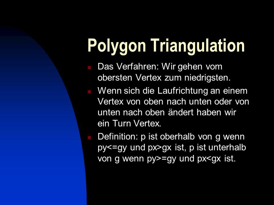 Polygon Triangulation Das Verfahren: Wir gehen vom obersten Vertex zum niedrigsten. Wenn sich die Laufrichtung an einem Vertex von oben nach unten ode