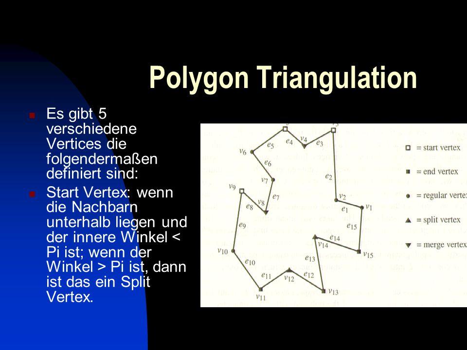 Polygon Triangulation Es gibt 5 verschiedene Vertices die folgendermaßen definiert sind: Start Vertex: wenn die Nachbarn unterhalb liegen und der inne