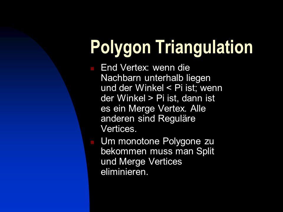 Polygon Triangulation End Vertex: wenn die Nachbarn unterhalb liegen und der Winkel Pi ist, dann ist es ein Merge Vertex. Alle anderen sind Reguläre V