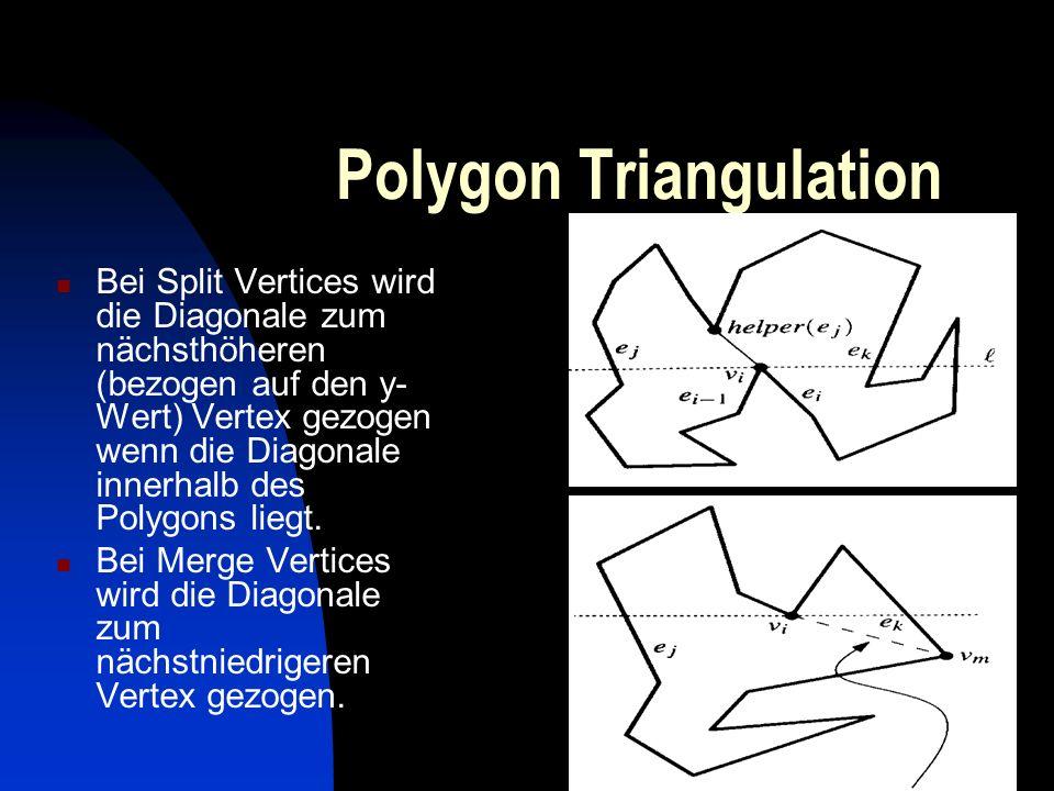 Polygon Triangulation Bei Split Vertices wird die Diagonale zum nächsthöheren (bezogen auf den y- Wert) Vertex gezogen wenn die Diagonale innerhalb de
