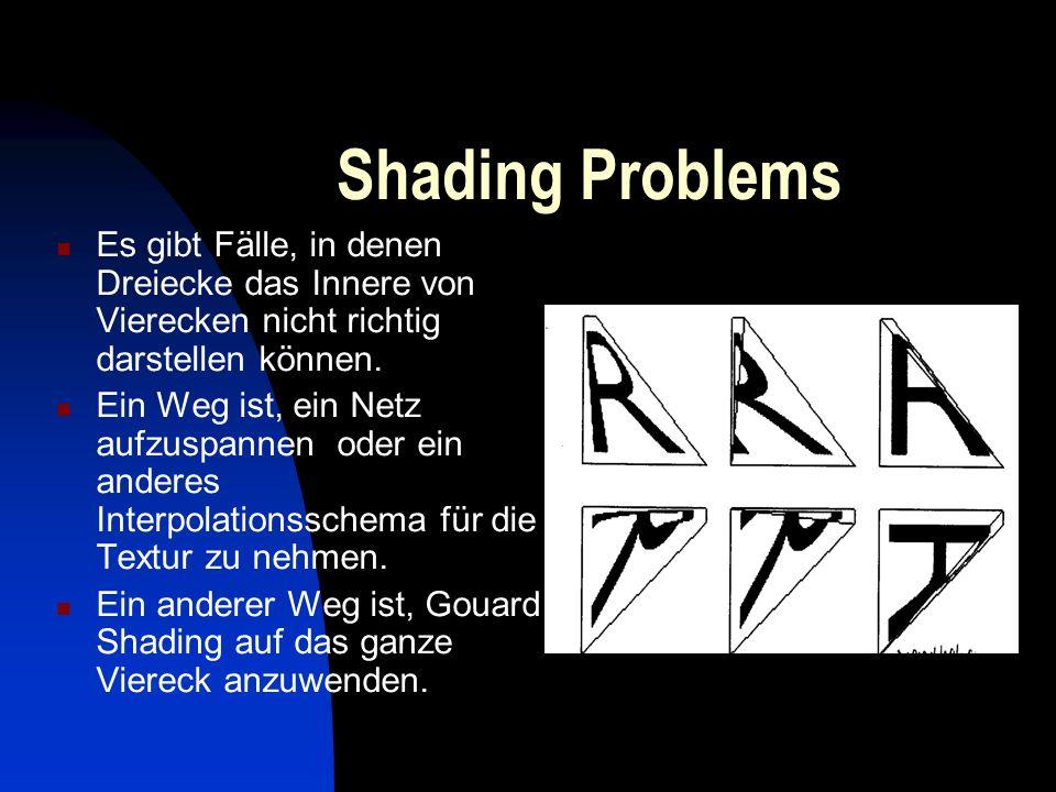 Shading Problems Es gibt Fälle, in denen Dreiecke das Innere von Vierecken nicht richtig darstellen können. Ein Weg ist, ein Netz aufzuspannen oder ei