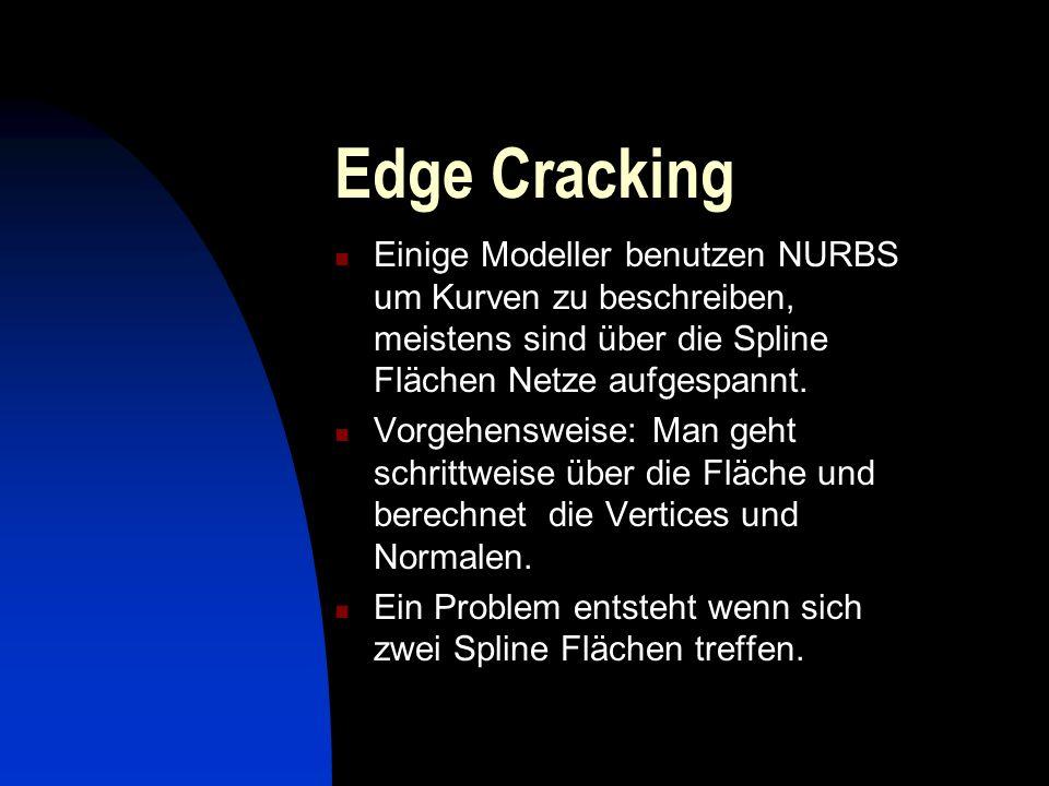 Edge Cracking Einige Modeller benutzen NURBS um Kurven zu beschreiben, meistens sind über die Spline Flächen Netze aufgespannt. Vorgehensweise: Man ge