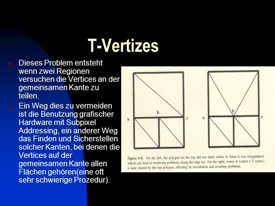 T-Vertizes Dieses Problem entsteht wenn zwei Regionen versuchen die Vertices an der gemeinsamen Kante zu teilen. Ein Weg dies zu vermeiden ist die Ben