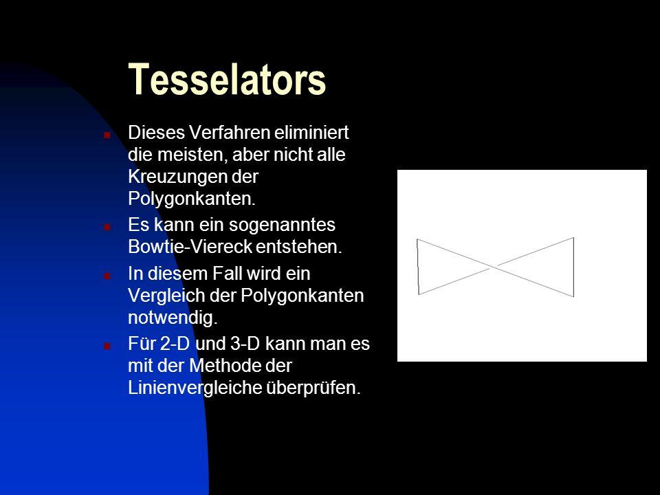 Tesselators Der nächste Schritt ist die Zerlegung in konvexe Regionen (ein sehr komplexes und langsames Verfahren), im Teil Polygon Triangulation wird dieses später näher erklärt.
