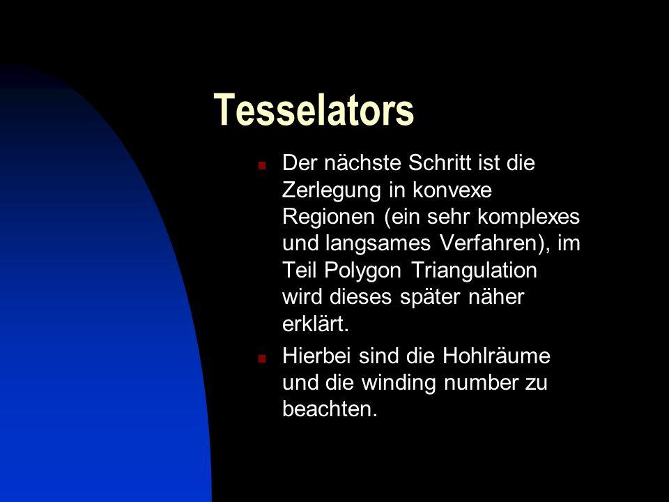 Tesselators Der nächste Schritt ist die Zerlegung in konvexe Regionen (ein sehr komplexes und langsames Verfahren), im Teil Polygon Triangulation wird