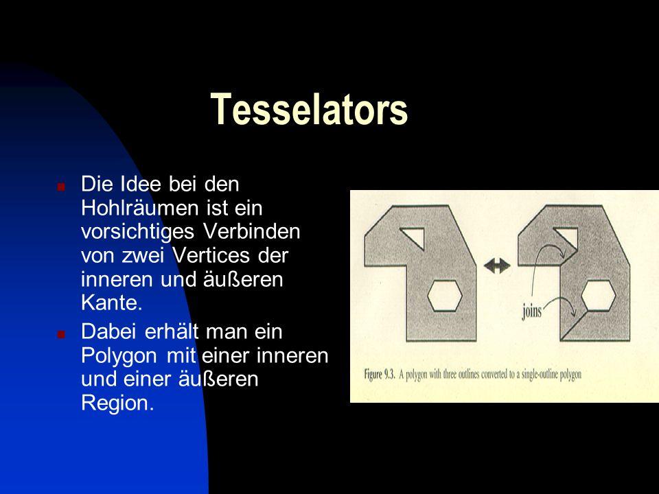 Tesselators Die Idee bei den Hohlräumen ist ein vorsichtiges Verbinden von zwei Vertices der inneren und äußeren Kante. Dabei erhält man ein Polygon m