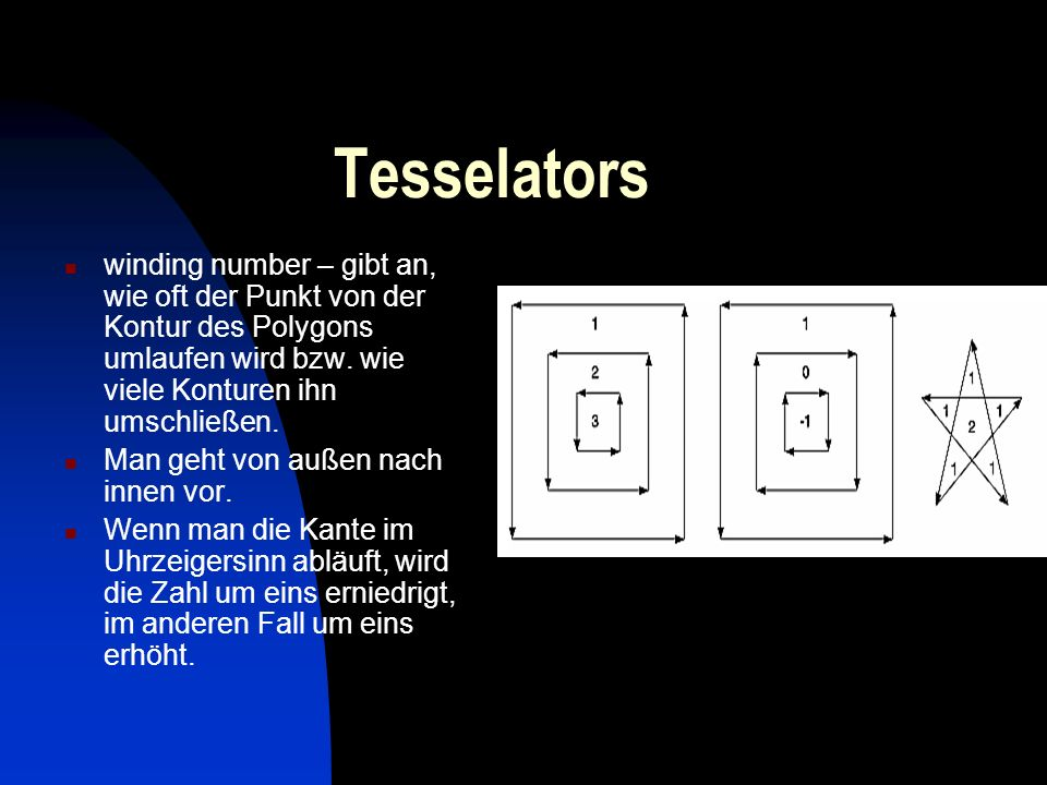 Tesselators Die Winding Rule klassifiziert einen Bereich als Innen, wenn die winding number zur gewählten Kategorie gehört, nämlich ungerade, ungleich null,positiv, negativ oder Iwinding numberI<=2.