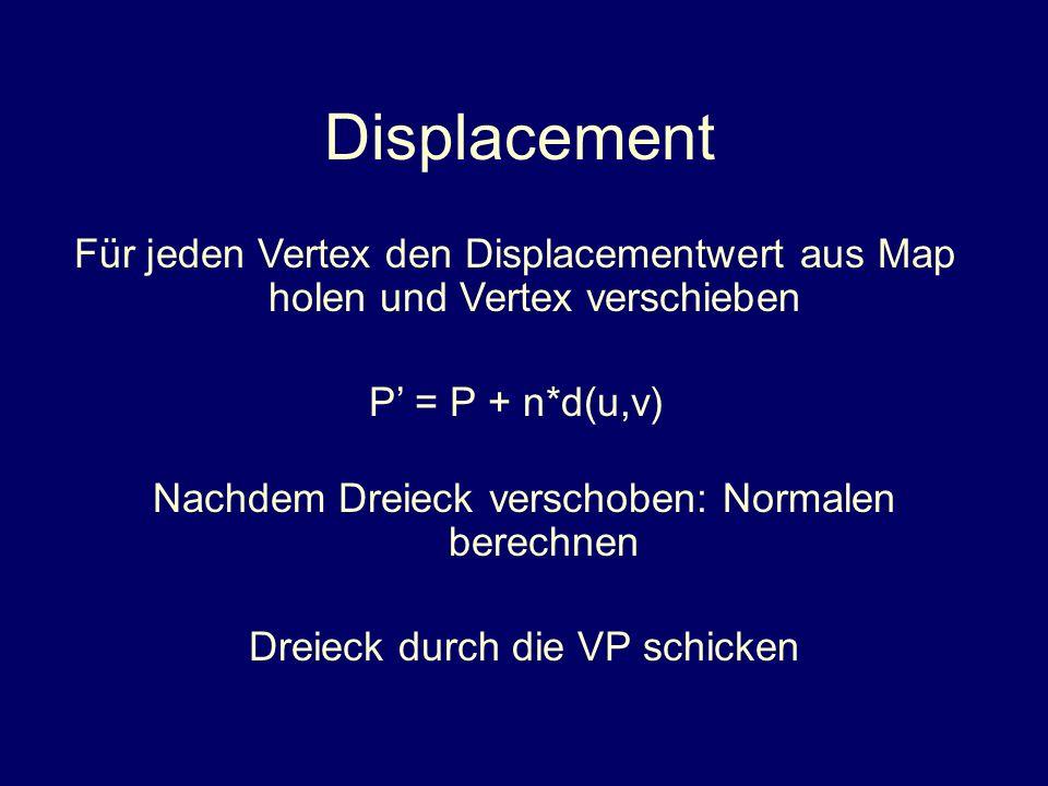 Displacement Für jeden Vertex den Displacementwert aus Map holen und Vertex verschieben P = P + n*d(u,v) Nachdem Dreieck verschoben: Normalen berechne