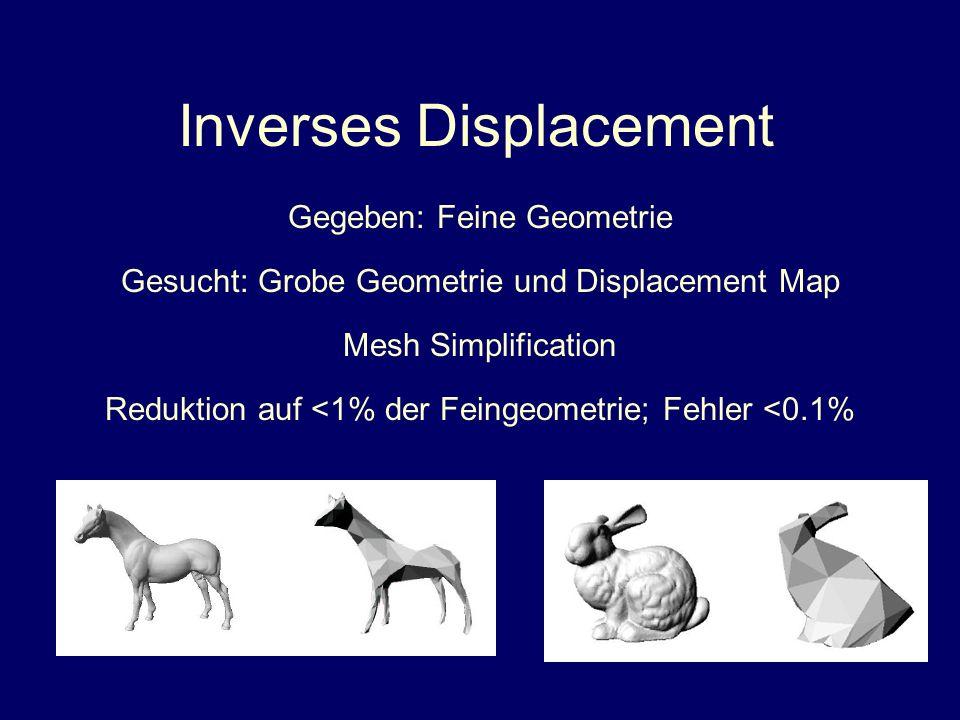 Inverses Displacement Gegeben: Feine Geometrie Gesucht: Grobe Geometrie und Displacement Map Reduktion auf <1% der Feingeometrie; Fehler <0.1% Mesh Si