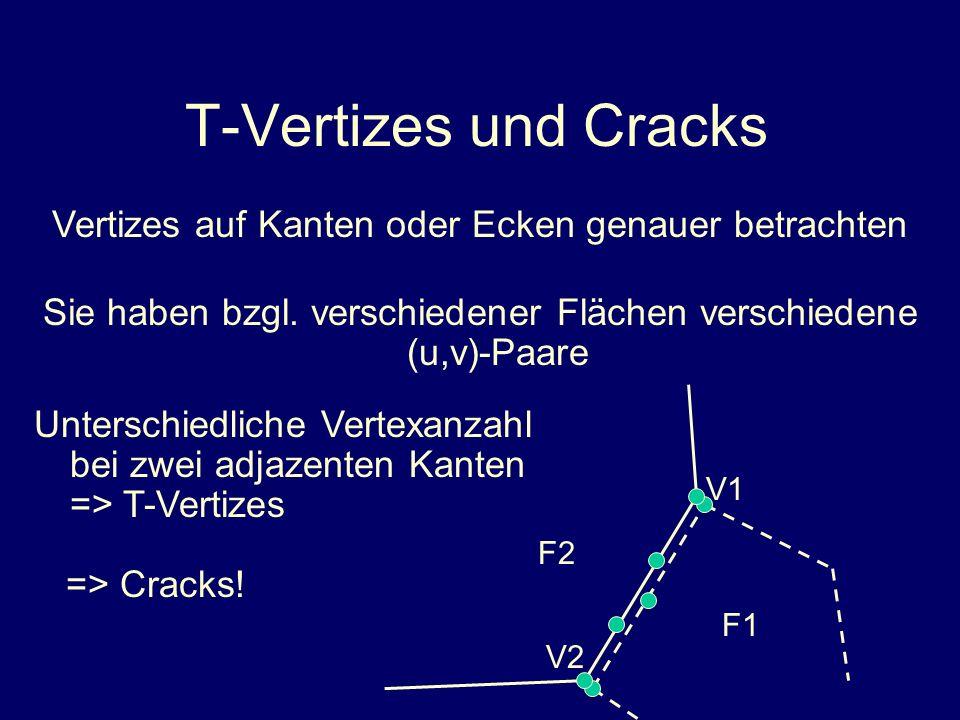 T-Vertizes und Cracks Vertizes auf Kanten oder Ecken genauer betrachten Unterschiedliche Vertexanzahl bei zwei adjazenten Kanten => T-Vertizes => Crac