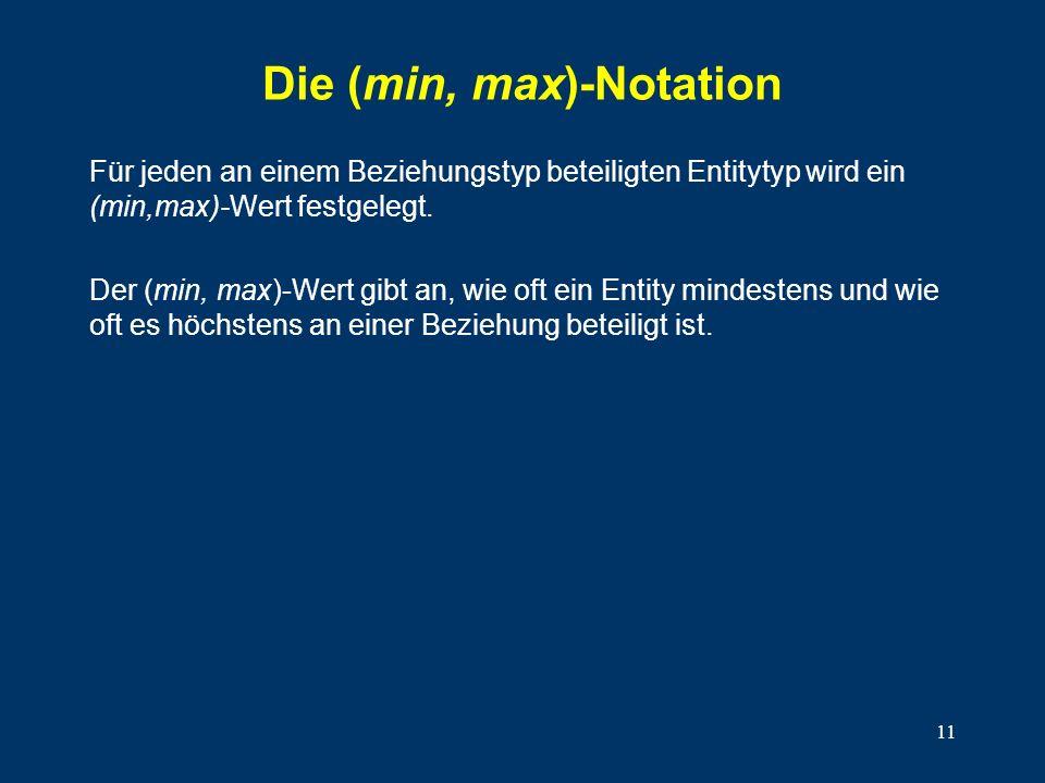 11 Die (min, max)-Notation Für jeden an einem Beziehungstyp beteiligten Entitytyp wird ein (min,max)-Wert festgelegt. Der (min, max)-Wert gibt an, wie