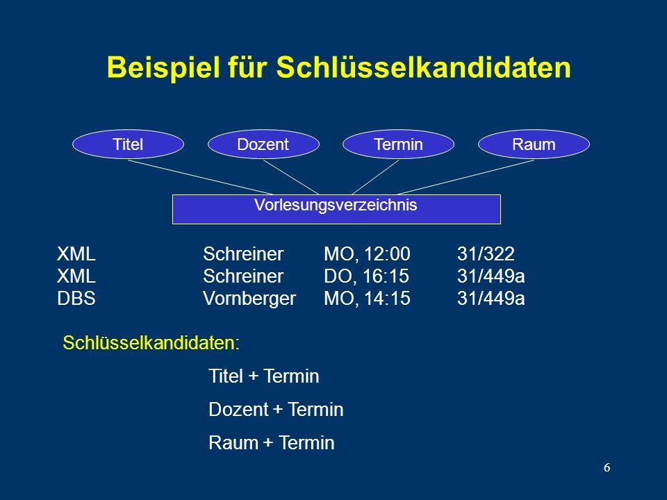 6 Beispiel für Schlüsselkandidaten XMLSchreinerMO, 12:0031/322 XMLSchreinerDO, 16:1531/449a DBSVornbergerMO, 14:1531/449a Vorlesungsverzeichnis TitelD