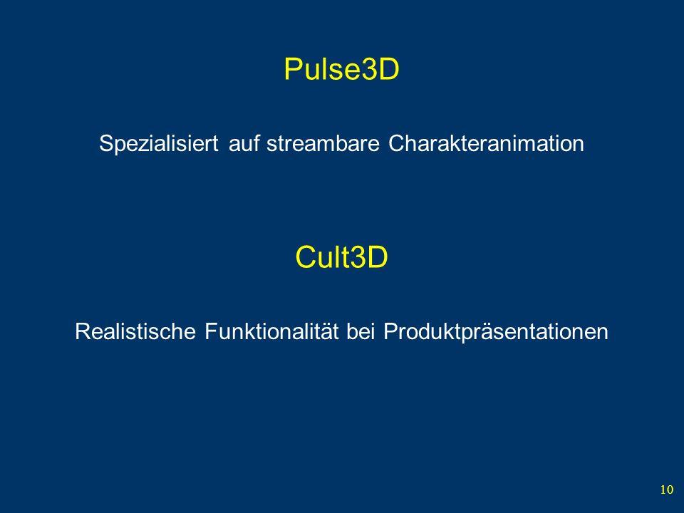 10 Pulse3D Spezialisiert auf streambare Charakteranimation Cult3D Realistische Funktionalität bei Produktpräsentationen