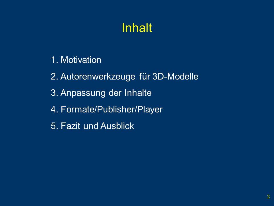 2 Inhalt 1. Motivation 2. Autorenwerkzeuge für 3D-Modelle 3.