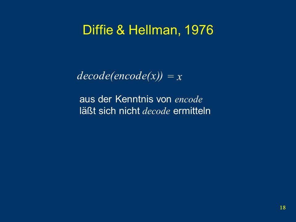 18 Diffie & Hellman, 1976 x aus der Kenntnis von encode läßt sich nicht decode ermitteln decode( )encode( ) = x