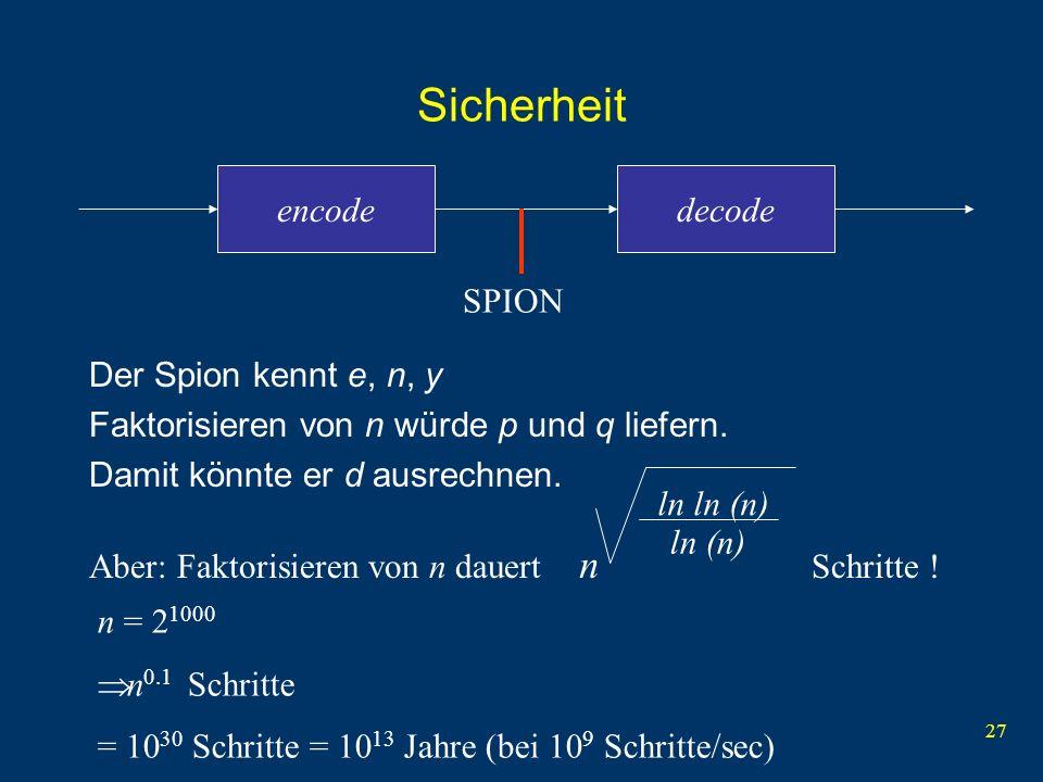 27 Sicherheit Der Spion kennt e, n, y Faktorisieren von n würde p und q liefern. Damit könnte er d ausrechnen. encodedecode SPION ln ln (n) ln (n) n A