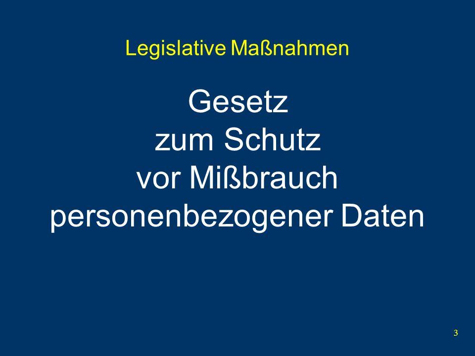3 Legislative Maßnahmen Gesetz zum Schutz vor Mißbrauch personenbezogener Daten