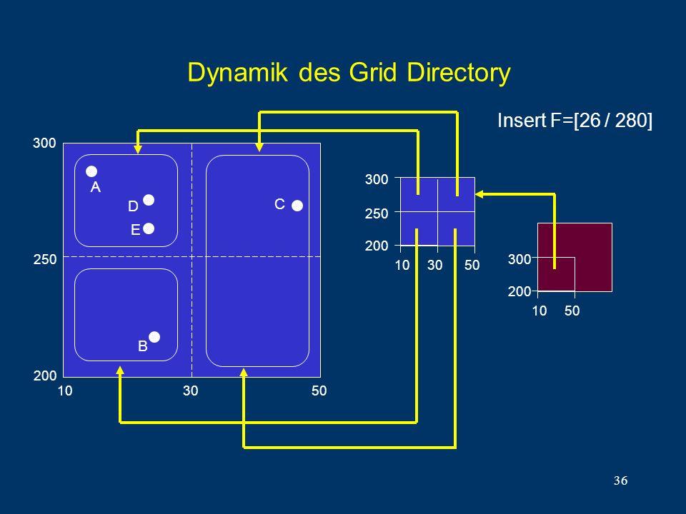 36 Dynamik des Grid Directory 250 200 C 300 10 30 50 A B 10 50 300 200 D 10 30 50 300 200 E 250 Insert F=[26 / 280]