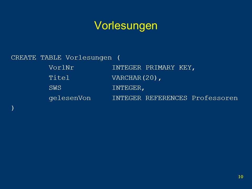 10 Vorlesungen CREATE TABLE Vorlesungen ( VorlNr INTEGER PRIMARY KEY, Titel VARCHAR(20), SWS INTEGER, gelesenVon INTEGER REFERENCES Professoren )