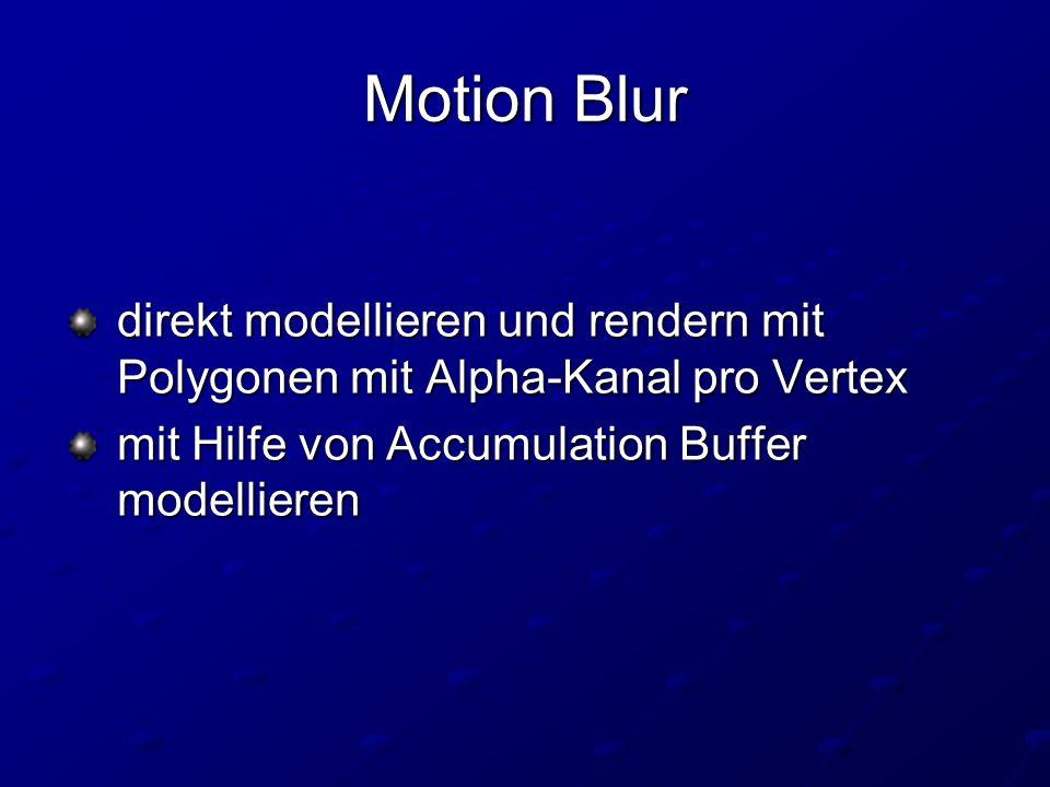 direkt modellieren und rendern mit Polygonen mit Alpha-Kanal pro Vertex direkt modellieren und rendern mit Polygonen mit Alpha-Kanal pro Vertex mit Hilfe von Accumulation Buffer modellieren mit Hilfe von Accumulation Buffer modellieren