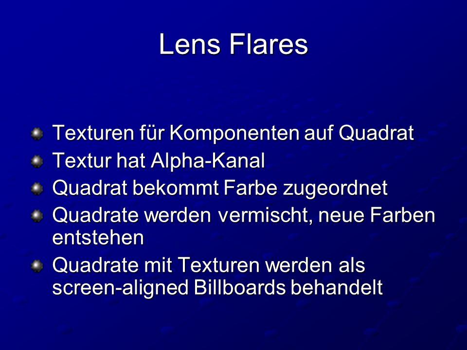 Lens Flares Texturen für Komponenten auf Quadrat Texturen für Komponenten auf Quadrat Textur hat Alpha-Kanal Textur hat Alpha-Kanal Quadrat bekommt Farbe zugeordnet Quadrat bekommt Farbe zugeordnet Quadrate werden vermischt, neue Farben entstehen Quadrate werden vermischt, neue Farben entstehen Quadrate mit Texturen werden als screen-aligned Billboards behandelt Quadrate mit Texturen werden als screen-aligned Billboards behandelt