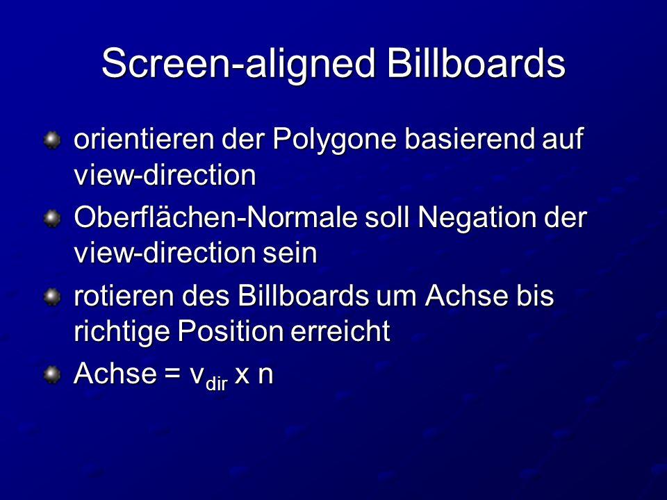 Screen-aligned Billboards orientieren der Polygone basierend auf view-direction orientieren der Polygone basierend auf view-direction Oberflächen-Normale soll Negation der view-direction sein Oberflächen-Normale soll Negation der view-direction sein rotieren des Billboards um Achse bis richtige Position erreicht rotieren des Billboards um Achse bis richtige Position erreicht Achse = v dir x n Achse = v dir x n