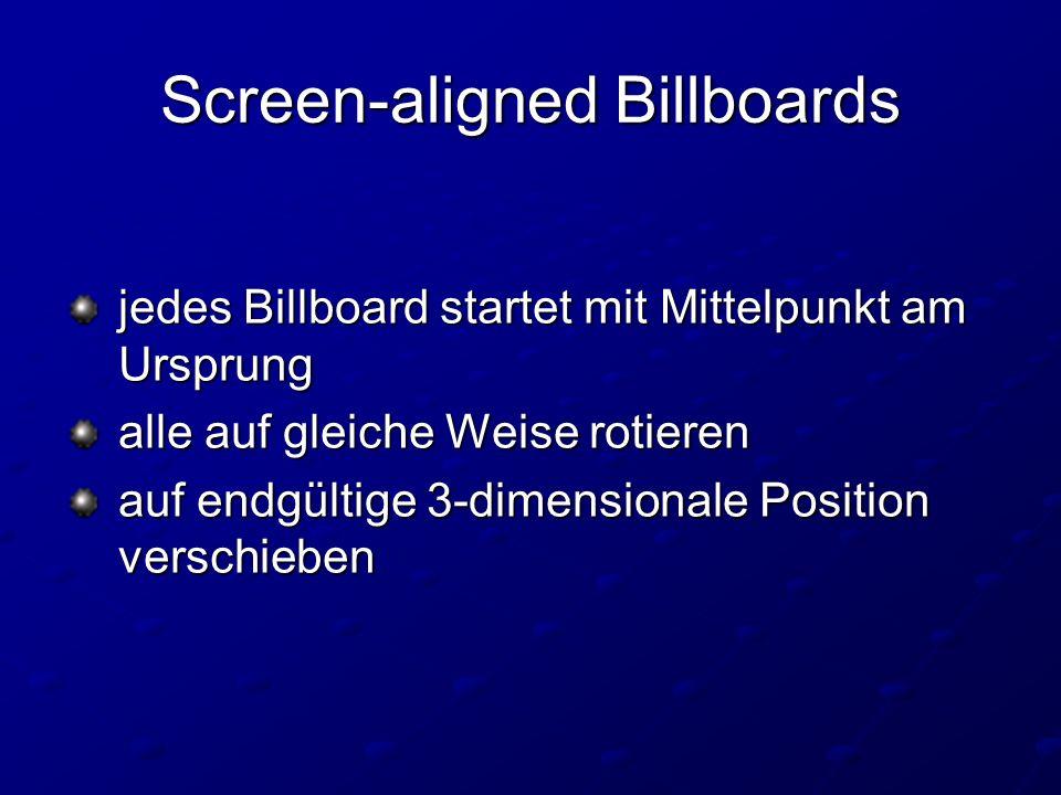 Screen-aligned Billboards jedes Billboard startet mit Mittelpunkt am Ursprung jedes Billboard startet mit Mittelpunkt am Ursprung alle auf gleiche Weise rotieren alle auf gleiche Weise rotieren auf endgültige 3-dimensionale Position verschieben auf endgültige 3-dimensionale Position verschieben