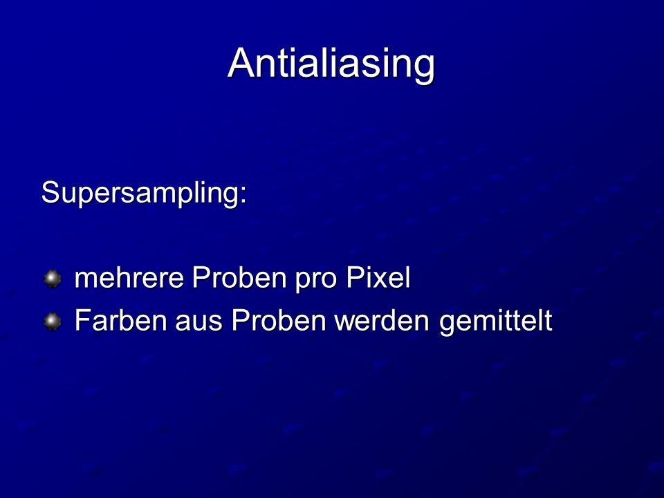 Antialiasing Supersampling: mehrere Proben pro Pixel mehrere Proben pro Pixel Farben aus Proben werden gemittelt Farben aus Proben werden gemittelt