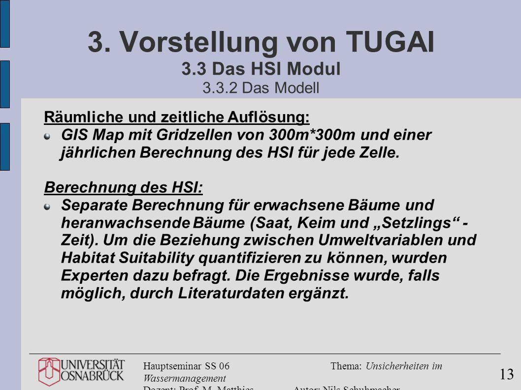 Hauptseminar SS 06Thema: Unsicherheiten im Wassermanagement Dozent: Prof. M. MatthiesAutor: Nils Schuhmacher 13 3. Vorstellung von TUGAI 3.3 Das HSI M