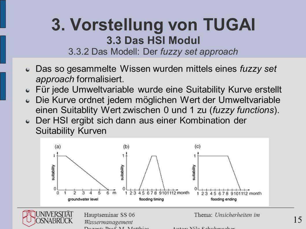 Hauptseminar SS 06Thema: Unsicherheiten im Wassermanagement Dozent: Prof. M. MatthiesAutor: Nils Schuhmacher 15 3. Vorstellung von TUGAI 3.3 Das HSI M