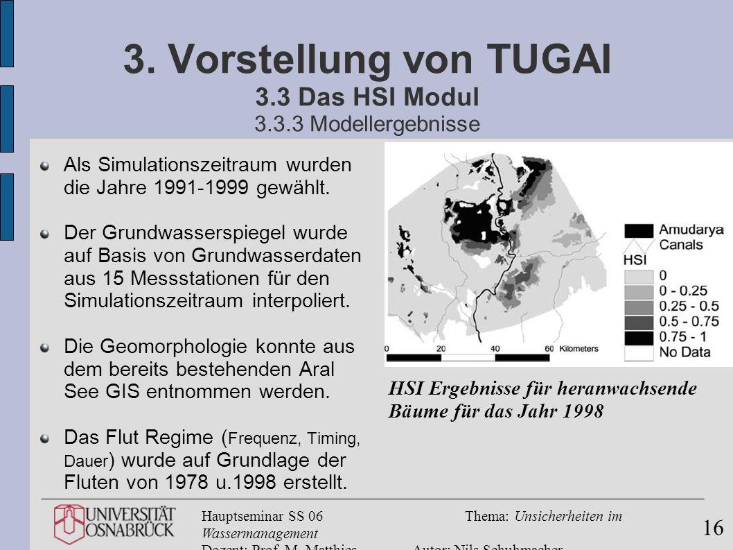Hauptseminar SS 06Thema: Unsicherheiten im Wassermanagement Dozent: Prof. M. MatthiesAutor: Nils Schuhmacher 16 3. Vorstellung von TUGAI 3.3 Das HSI M