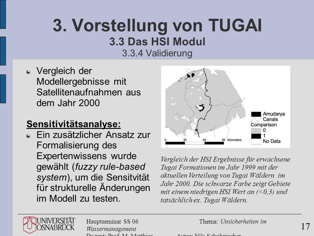 Hauptseminar SS 06Thema: Unsicherheiten im Wassermanagement Dozent: Prof. M. MatthiesAutor: Nils Schuhmacher 17 3. Vorstellung von TUGAI 3.3 Das HSI M