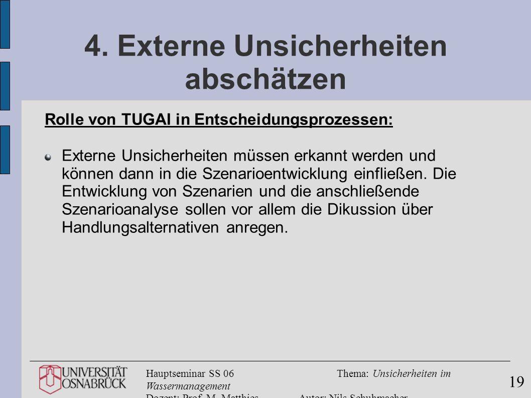 Hauptseminar SS 06Thema: Unsicherheiten im Wassermanagement Dozent: Prof. M. MatthiesAutor: Nils Schuhmacher 19 4. Externe Unsicherheiten abschätzen R