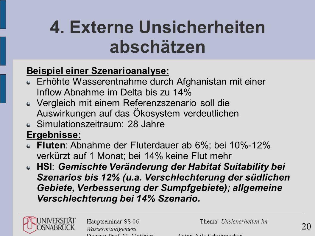Hauptseminar SS 06Thema: Unsicherheiten im Wassermanagement Dozent: Prof. M. MatthiesAutor: Nils Schuhmacher 20 4. Externe Unsicherheiten abschätzen B