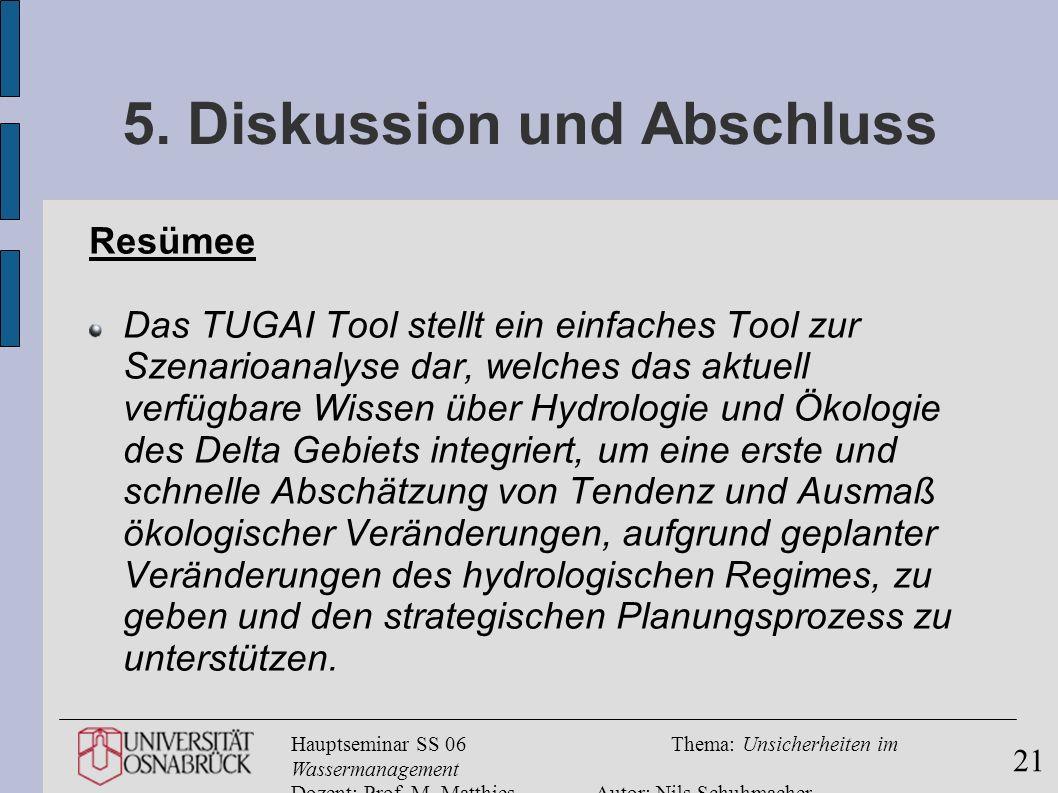 Hauptseminar SS 06Thema: Unsicherheiten im Wassermanagement Dozent: Prof. M. MatthiesAutor: Nils Schuhmacher 21 5. Diskussion und Abschluss Resümee Da