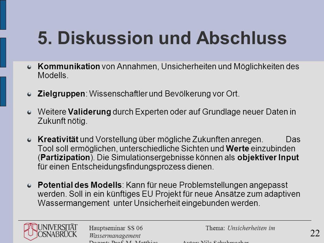 Hauptseminar SS 06Thema: Unsicherheiten im Wassermanagement Dozent: Prof. M. MatthiesAutor: Nils Schuhmacher 22 5. Diskussion und Abschluss Kommunikat