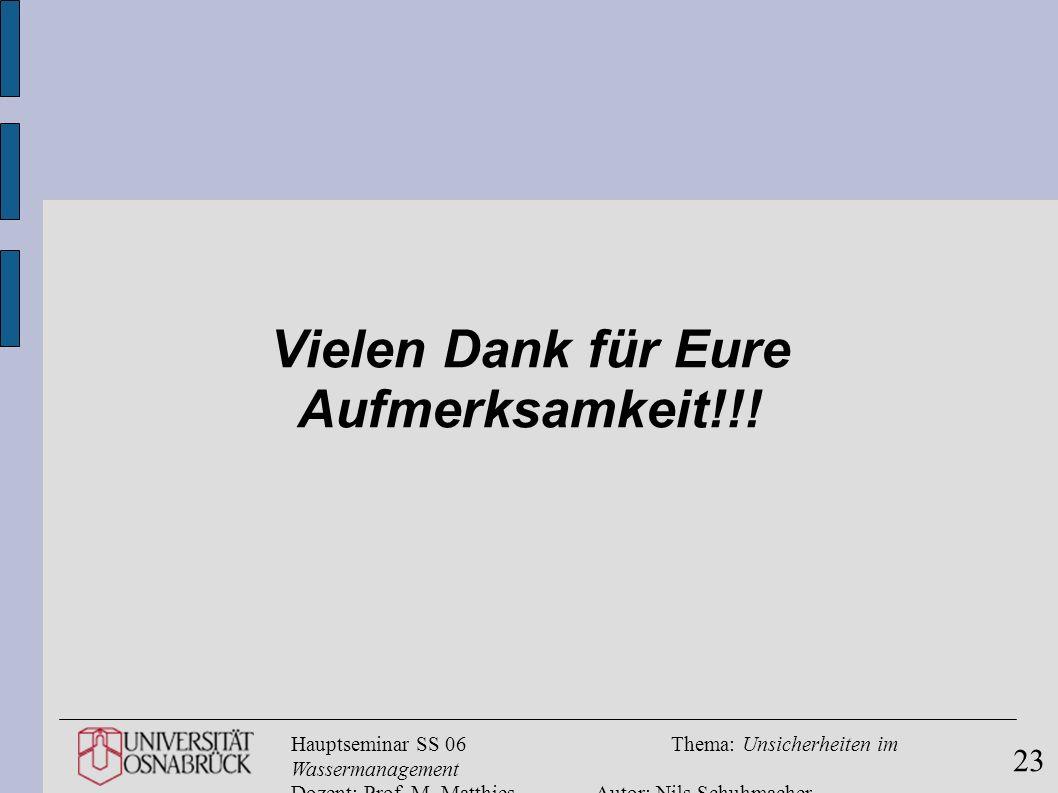 Hauptseminar SS 06Thema: Unsicherheiten im Wassermanagement Dozent: Prof. M. MatthiesAutor: Nils Schuhmacher 23 Vielen Dank für Eure Aufmerksamkeit!!!