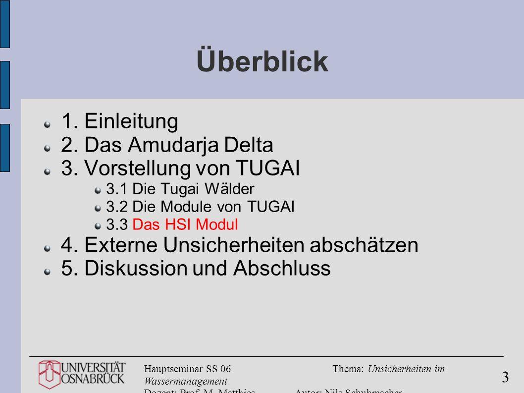 Hauptseminar SS 06Thema: Unsicherheiten im Wassermanagement Dozent: Prof. M. MatthiesAutor: Nils Schuhmacher 3 Überblick 1. Einleitung 2. Das Amudarja