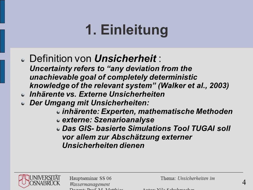 Hauptseminar SS 06Thema: Unsicherheiten im Wassermanagement Dozent: Prof. M. MatthiesAutor: Nils Schuhmacher 4 1. Einleitung Definition von Unsicherhe