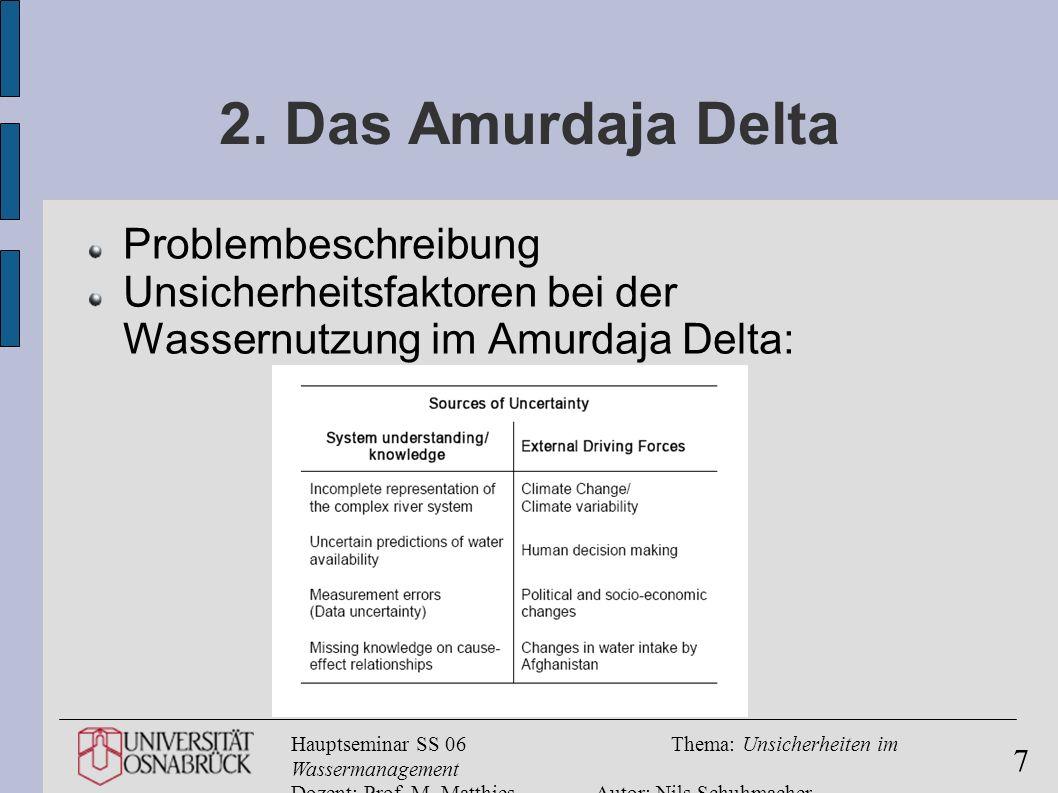 Hauptseminar SS 06Thema: Unsicherheiten im Wassermanagement Dozent: Prof. M. MatthiesAutor: Nils Schuhmacher 7 2. Das Amurdaja Delta Problembeschreibu