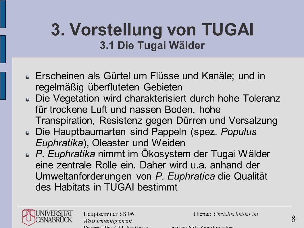 Hauptseminar SS 06Thema: Unsicherheiten im Wassermanagement Dozent: Prof. M. MatthiesAutor: Nils Schuhmacher 8 3. Vorstellung von TUGAI 3.1 Die Tugai