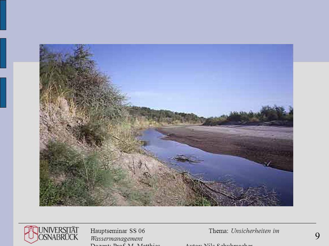 Hauptseminar SS 06Thema: Unsicherheiten im Wassermanagement Dozent: Prof. M. MatthiesAutor: Nils Schuhmacher 9