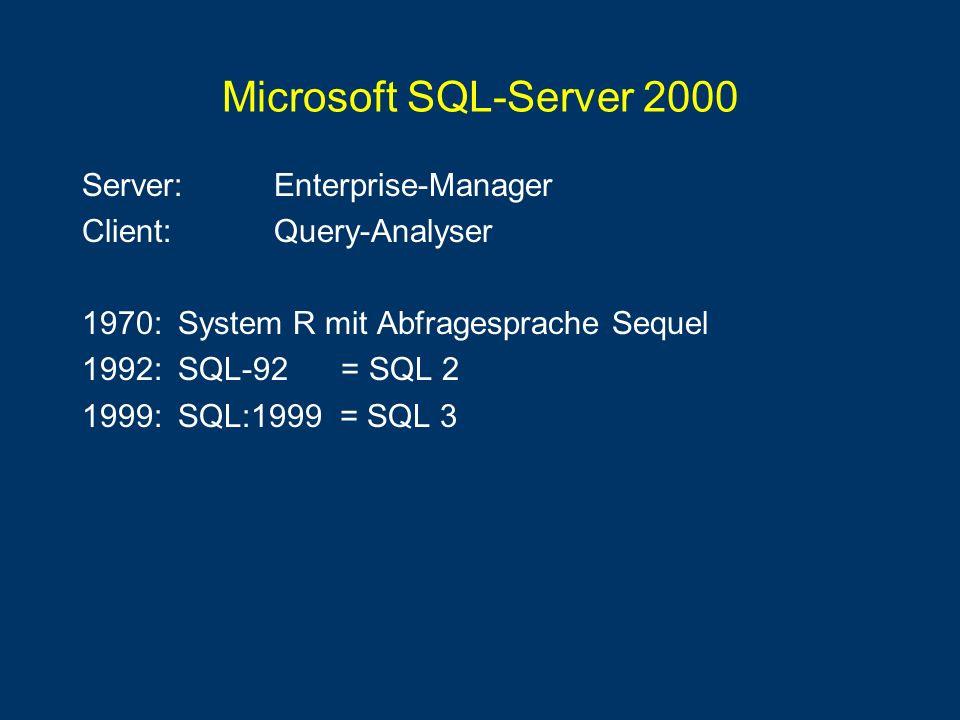 Microsoft SQL-Server 2000 Server: Enterprise-Manager Client:Query-Analyser 1970:System R mit Abfragesprache Sequel 1992:SQL-92 = SQL 2 1999:SQL:1999 =