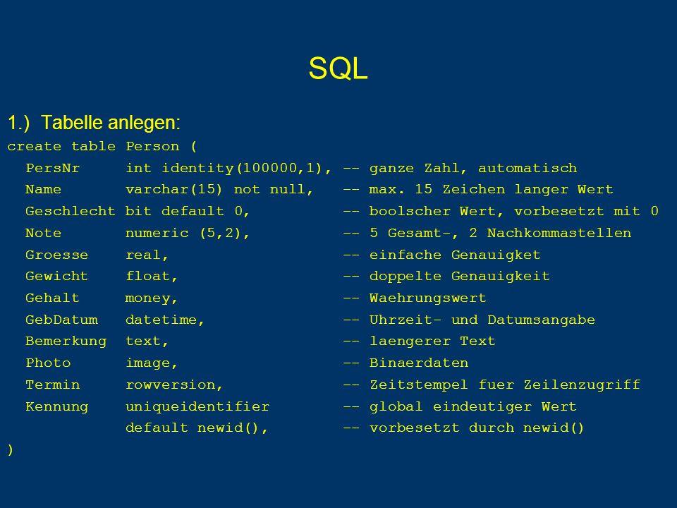 SQL 19.) Liste Summe der SWS pro Professor, sofern seine Durchschnitts-SWS größer als 3 ist: select gelesenVon as PersNr, sum(SWS) as Lehrbelastung from Vorlesungen group by gelesenVon having avg(SWS) > 3 alternativ unter Verwendung von Gleichkommadurchschnitt: select gelesenVon as PersNr, sum (SWS) as Lehrbelastung from Vorlesungen group by gelesenVon having avg(cast(SWS as float)) > 3.0