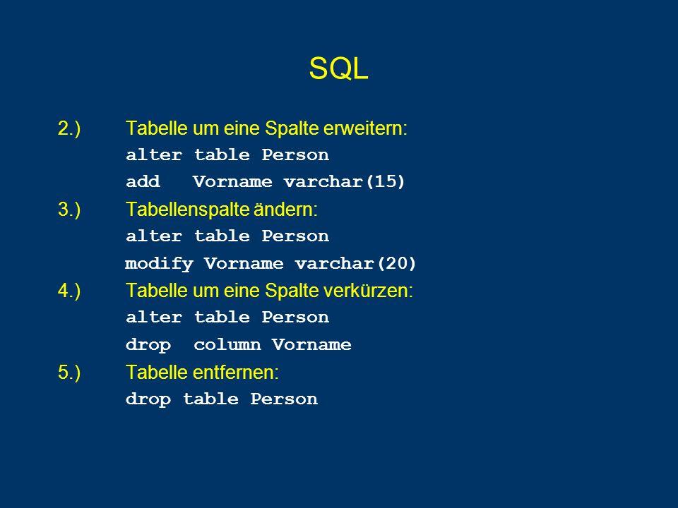 SQL 20.) Liste Summe der SWS pro C4-Professor, sofern seine Durchschnitts-SWS größer als 3 ist: select Name, sum(SWS) from Vorlesungen, Professoren where gelesenVon = PersNr and Rang= C4 group by gelesenVon, Name having avg(cast(SWS as float)) > 3.0 21.) Liste alle Prüfungen, die als Ergebnis die schlechteste Note haben: select * from pruefen where Note = (select max(Note) from pruefen)