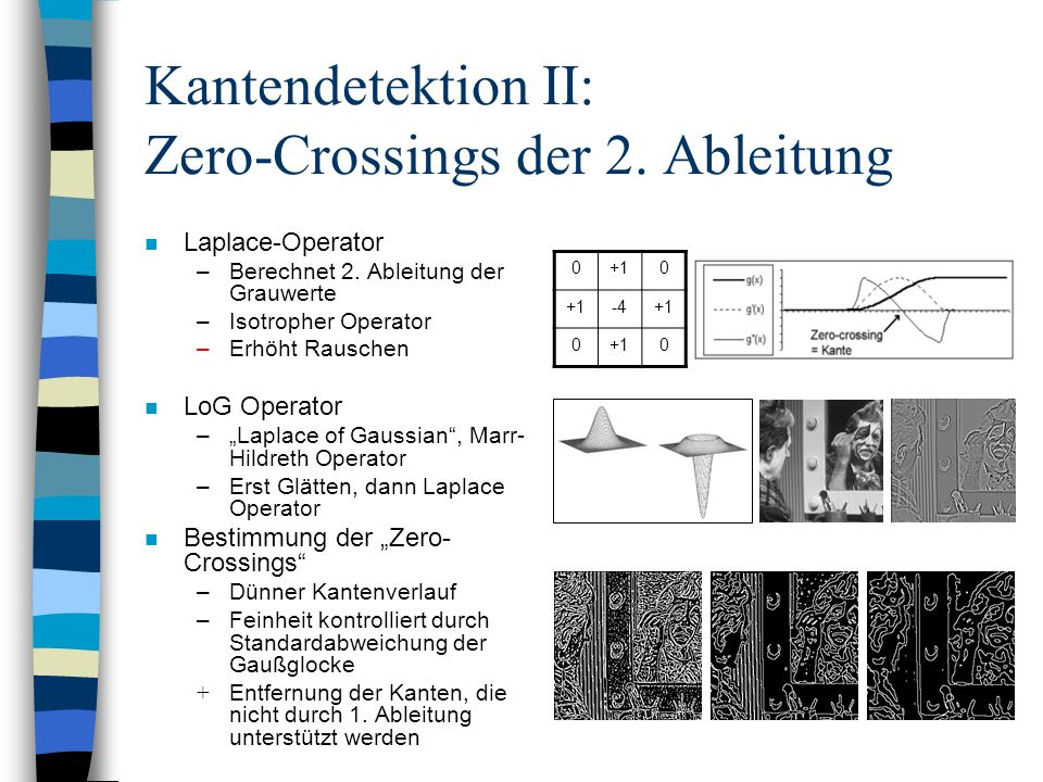 Kantendetektion II: Zero-Crossings der 2. Ableitung n Laplace-Operator –Berechnet 2. Ableitung der Grauwerte –Isotropher Operator –Erhöht Rauschen n L